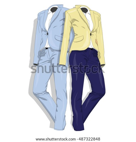 Female suit. Clothes collection. Vector illustration.