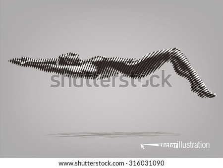 Female swimmer on the competition. Vector artwork in the style of ink drawing - stock vector