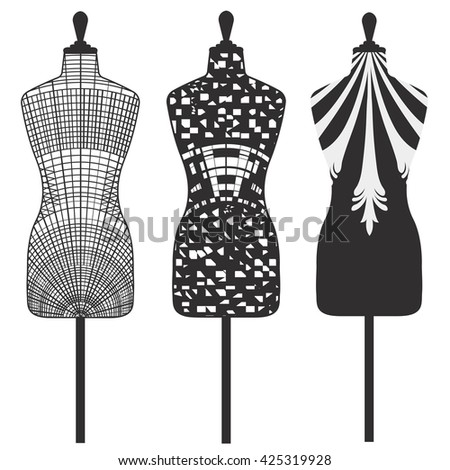 Female tailors mannequin isolated on white background with decorative motifs. Vector Illustration - stock vector