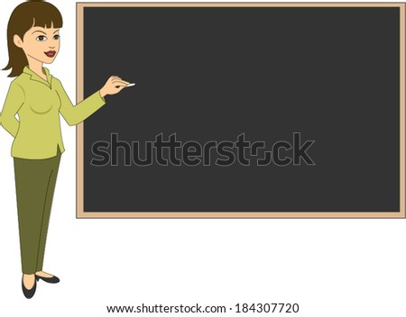 Female teacher next to blackboard - stock vector