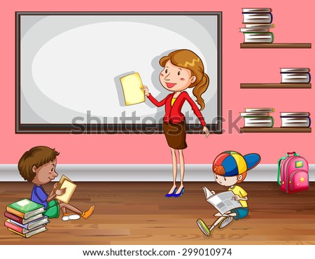 Female teacher teaching in the classroom