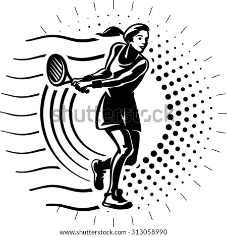 Female tennis player with racket. Illustration in the engraving style - stock vector
