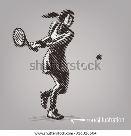 Female tennis player with racket. Illustration in the style of ink drawing - stock vector