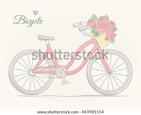 Female urban cruiser bicycle with flowers basket. Detailed vector drawing. Pink on beige background. - stock vector