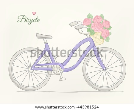 Female urban cruiser bicycle with flowers basket. Detailed vector drawing. Purple on beige background. - stock vector