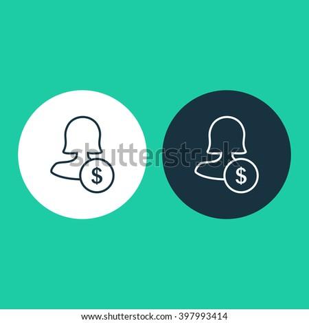 Female user earnings icon, eps user earnings icon, user earnings icon image, user earnings icon logo, user earnings icon button, user earnings icon design, user earnings icon badge - stock vector