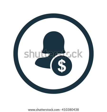 Female user earnings icon, eps user earnings icon, user earnings icon image, user earnings icon logo, user earnings icon button, user earnings icon design, user earnings icon badge, flat user icon - stock vector