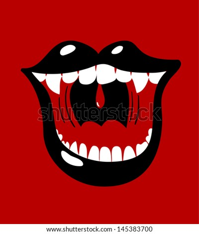 Female vamp mouth - stock vector