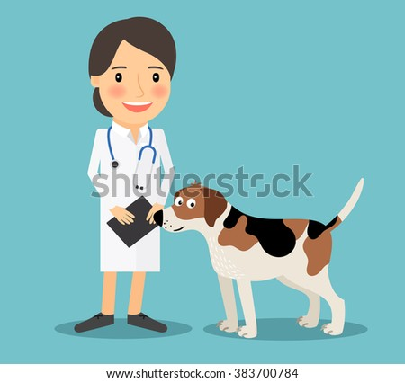 Female Veterinarian Doctor with a dog. Veterinary concept colorful icon on light blue background. Vector illustration - stock vector