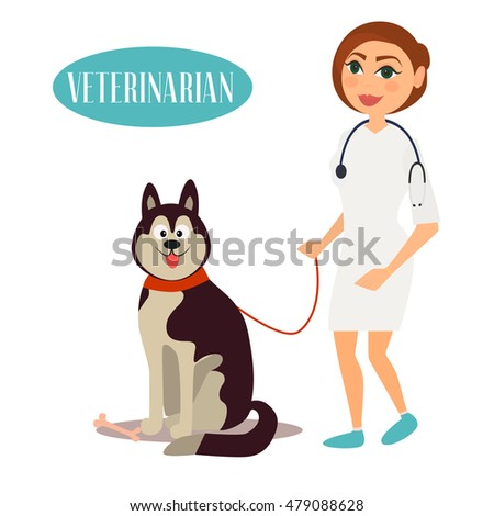Female Veterinarian Doctor with dog