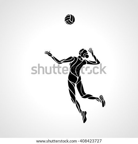 Female volleyball player stylized silhouette
