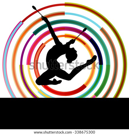 Female woman modern rhythmic gymnastics art with Indian clubs vector abstract background concept - stock vector