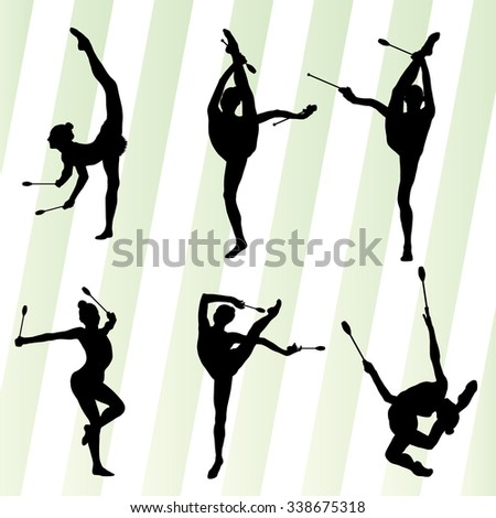Female woman modern rhythmic gymnastics art with Indian clubs vector set background concept