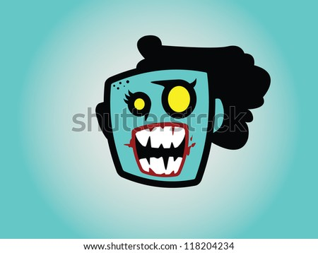 Female Zombie Head with Half Hair Ripped Off. - stock vector