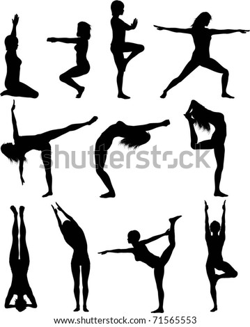 Females in yoga poses - stock vector