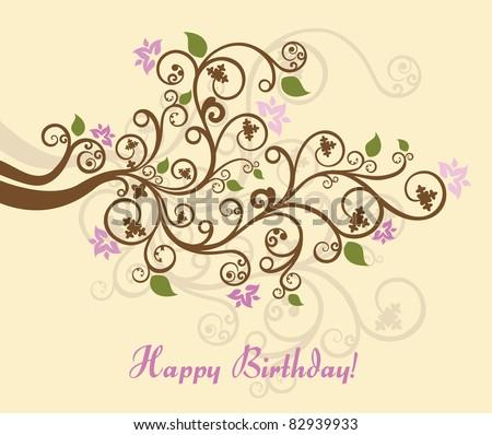 Feminine floral happy birthday card vector illustration