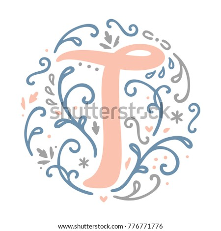 Feminine Monogram Design T Letter Lovely Cute And Elegant Perfect For
