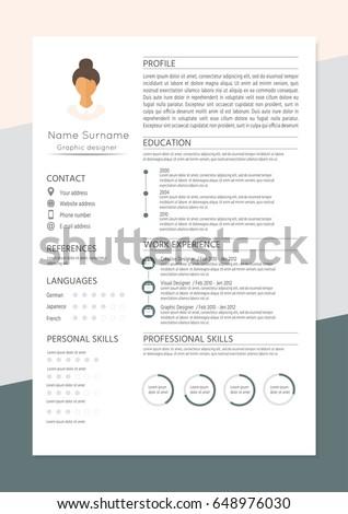 Feminine Resume Infographic Design Stylish Cv Stock Vector 648976030