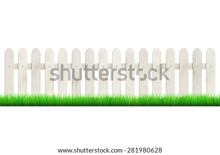 Fence from light wood and green grass - isolated on white background. Vector illustration. - stock vector
