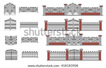 Fence Gate wrought iron wicket, grilles forged Ornate antique iron fence. Isolated on white, vector