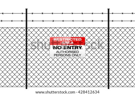 Fence with barbed wire and sign NO ENTRY. Isolated wire fence on white background. Vector illustration. - stock vector
