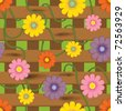 Fence with flowers. Seamless background pattern. Vector illustration. - stock vector