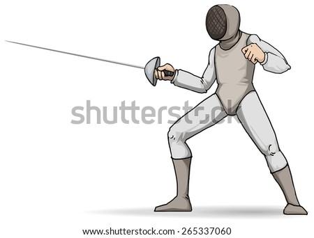 Fencer, in full gear, sport, vector illustration - stock vector