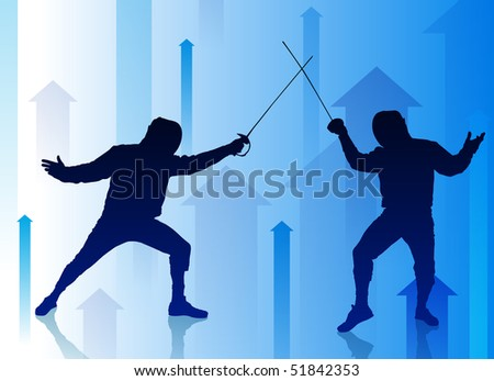 Fencer on Abstract Arrow Background Original Illustration