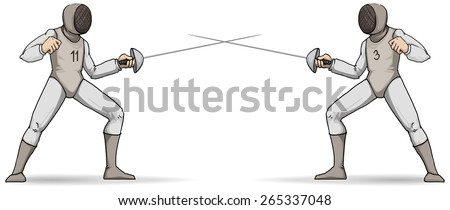 Fencers about to duel, in full gear, sport, vector illustration