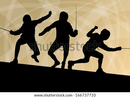 Fencing active young men sword fighting sport silhouettes vector abstract background illustration - stock vector