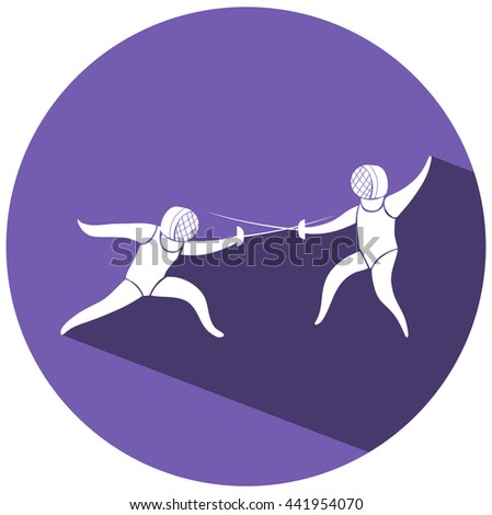 Fencing icon on round badge illustration