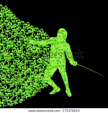 Fencing players active sports silhouette background illustration vector concept made of triangular fragments explosion