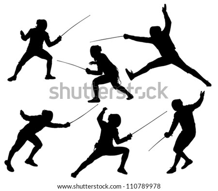 Fencing Silhouette on white background