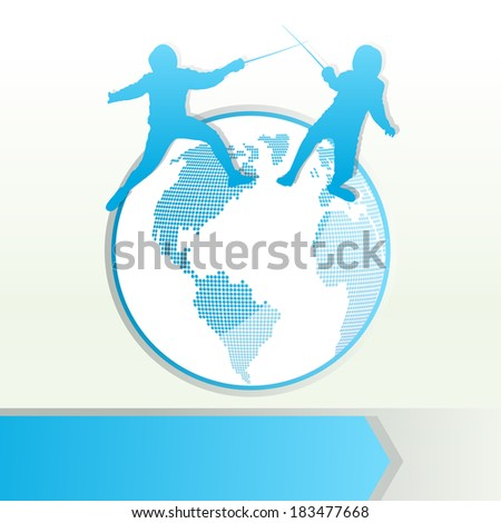 Fencing sport silhouette vector background concept with globe - stock vector