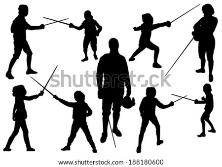 Fencing Sport Silhouettes - stock vector