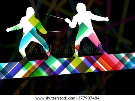 Fencing sport young and active men and women silhouettes in abstract background illustration vector - stock vector