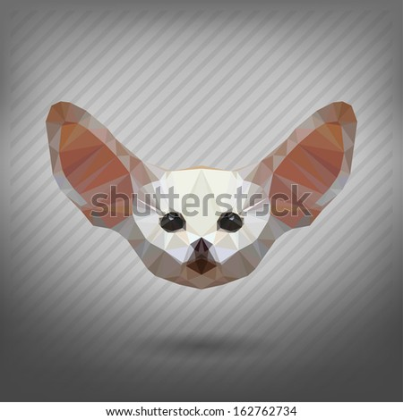 Fennec fox in the style of origami - stock vector