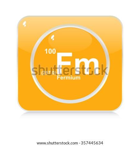 fermium chemical element button - stock vector