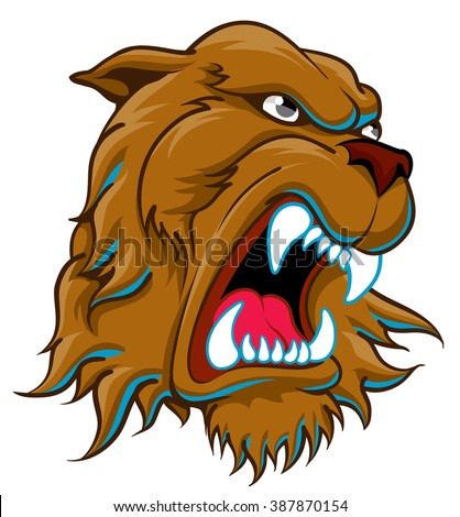 Ferocious growling snarling angry head of brown bear - stock vector