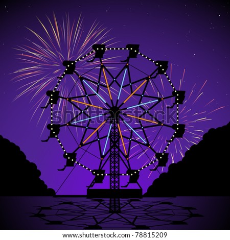 Ferris wheel at night with fireworks display - stock vector