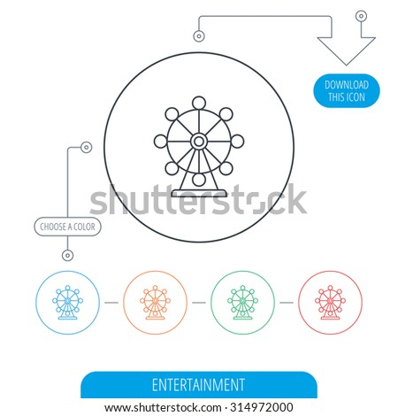 Ferris wheel icon. Entertainment park sign. Line circle buttons. Download arrow symbol. Vector - stock vector