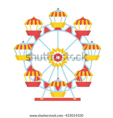 Ferris wheel in Amusement park. Vector illustration  isolated on white background. - stock vector