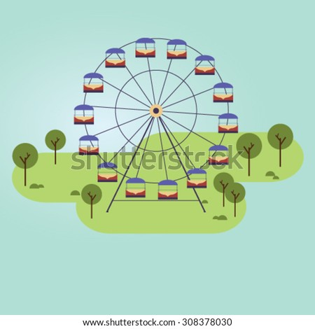 Ferris wheel in the city. Vector illustration - stock vector