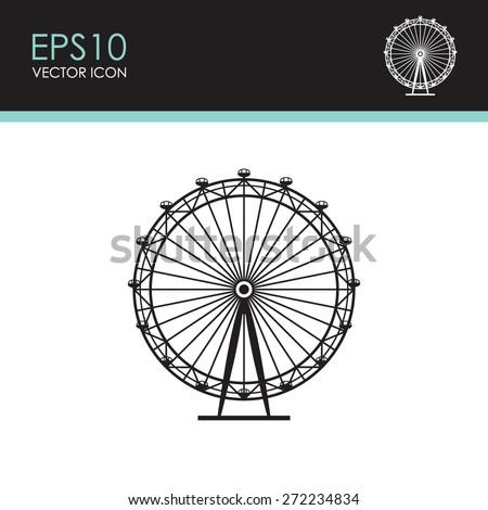 Ferris Wheel vector icon. - stock vector