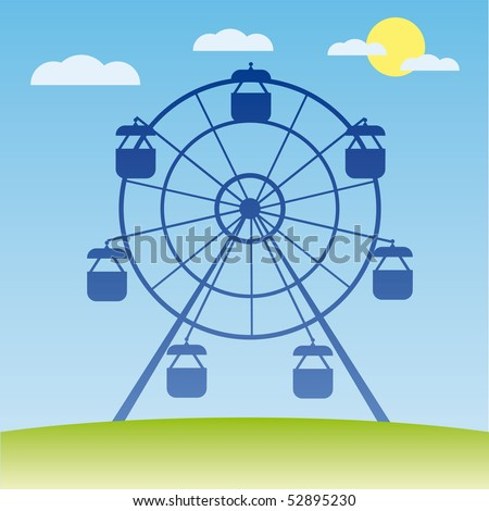 Ferris wheel vector illustration. Amusement park cartoon. - stock vector