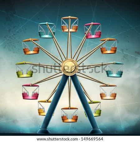 Ferris wheel, vintage grunge background. Eps 10 - stock vector