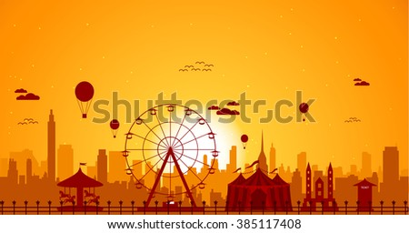 ferris wheel with cityscape at sunset - stock vector