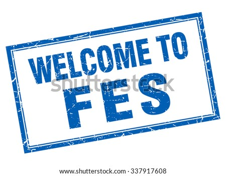 Fes blue square grunge welcome isolated stamp