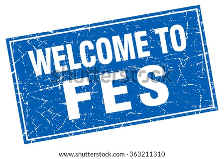 Fes blue square grunge welcome to stamp