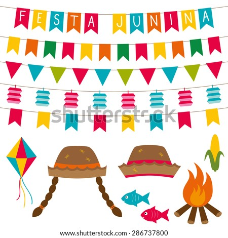 Festa junina (Brazilian June party) decoration and photo booth props set - stock vector
